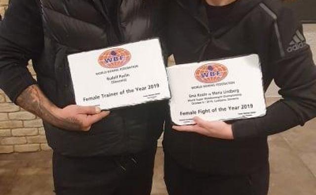 Rudolf Pavlin in Ema Kozin sta prejela posebni priznanji na konvenciji boksarskega združenja WBF. FOTO: Mirko Skoko