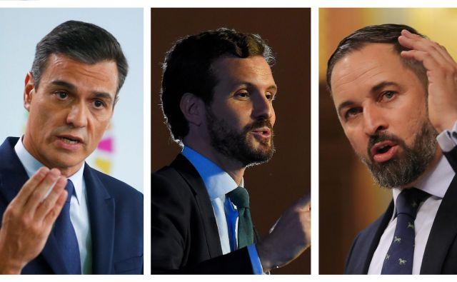 Bo španska politika razbila blokado? Pedro Sánchez (PSOE), Pablo Casado (PP) in Santiago Abascal (Vox).Foto Reuters In Afp