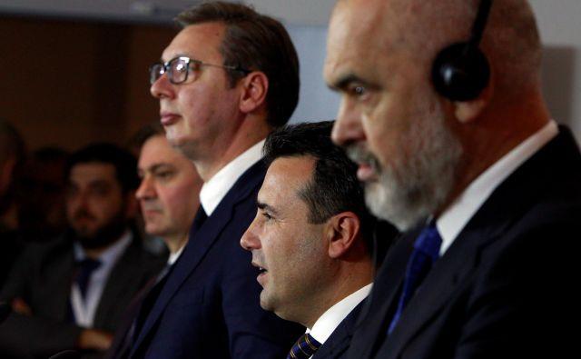 Srbski predsednik Aleksandar Vučić, premier Severne Makedonije Zoran Zaev in albanski predsednik vlade Edi Rama bodo pospešili prost pretok ljudi, blaga in kapitala. FOTO: Reuters