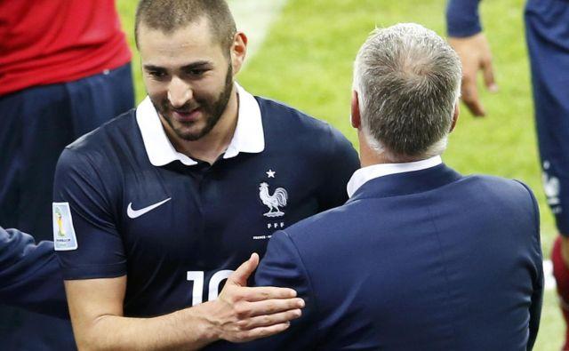 Karim Benzema je na zadnjem velikem tekmovanju pod taktirko selektorja Didiera Deschmapsa igral na SP v Braziliji leta 2014. FOTO: Reuters