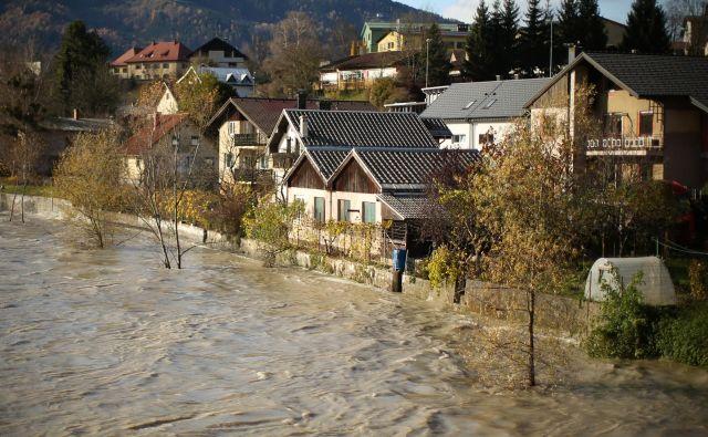 Narasla Drava ob vstopu v Slovenijo pri Dravogradu je ogrožala stanovanjske hiše ob Ribiški poti. FOTO: Jure Eržen