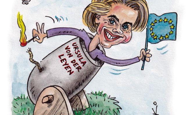 Ursula von der Leyen poskuša Evropo najprej zagnati s pozitivnejšimi toni. Karikatura: Marko Kočevar