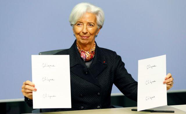 Christine Lagarde bo bo imela po funkciji pravico do svojega podpisa na evrskih bankovcih, ki jih bodo tiskali od 1. januarja 2020. Foto Reuters