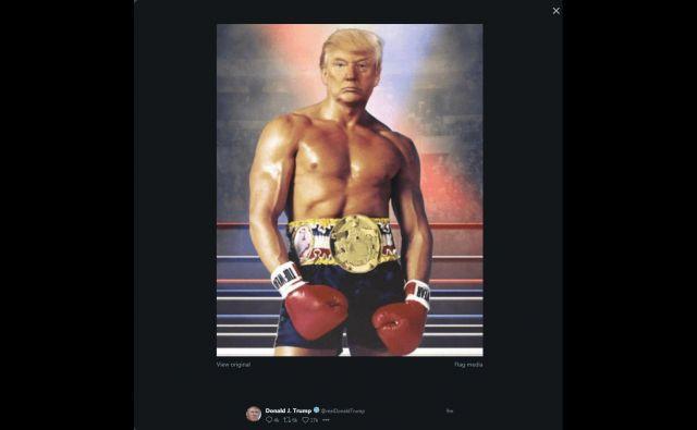Trump je v tvitu svoj pomlajeni portret nadel na hollywoodsko izklesano telo Sylvestra Stalloneja iz tretjega dela dobre stare sage o boksarju Rockyju. Posneli so ga leta 1983. FOTO: Eric Baradat/AFP