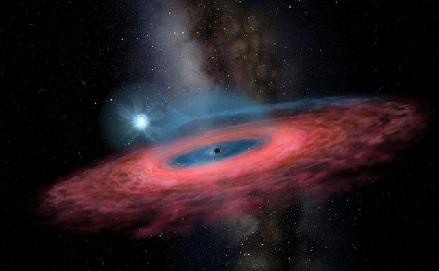 Slikarska upodobitev novoodkrite črne luknje LB-1 z modro spremljevalno zvezdo. FOTO: Yu Jingchuan/AFP/Beijing Planetarium