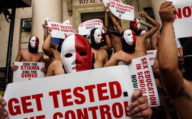 Redna tedenska testiranja s svetovanjem potekajo tudi na sedežu društva Legebitra. FOTO: Dante Diosina Jr./Afp
