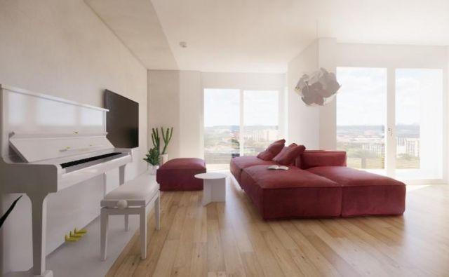 Mladi družini smo tokrat pomagali z zamislijo za preureditev in opremo osrednjega bivalnega prostora v stanovanju. Foto arhitekti ekipe Celovito