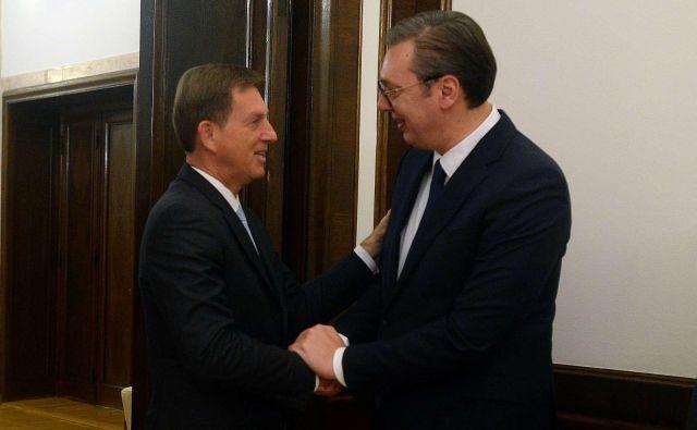 Slovenski zunanji minister Miroslav Cerar na obisku pri predsedniku Srbije Alaksandru Vučiću. FOTO:STA - Slovenska tiskovna agencija
