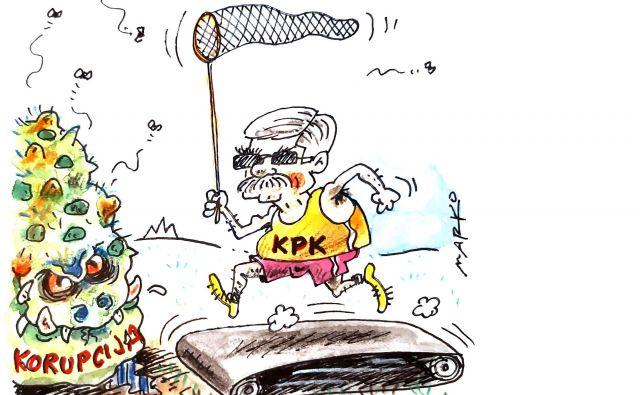 KPK stane več kot poldrugi milijon evrov na leto, a dejansko ne pripomore k omejevanju korupcije. Karikatura: Marko Kočevar