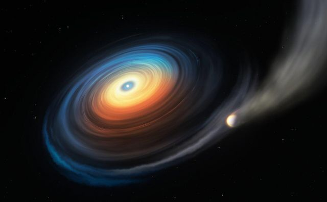 Ilustracija bele pritlikavke WDJ0914+1914 in Neptunu podobnega eksoplaneta. FOTO:ESO/M. Kornmesser