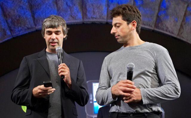 Larry Page in Sergey Brin na predstavitvi nove Googlove programske opreme za pametne telefone Android v New Yorku leta 2008. FOTO: Jacob Silberberg/Reuters