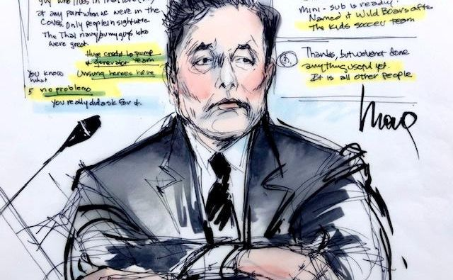 Skica Elona Muska na sodišču v Los Angelesu. FOTO: Mona Shafer Edwards/Reuters