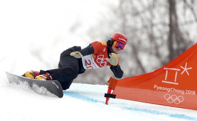 Žan Košir med kvalifikacijami v deskanju na snegu, Pjongčang 24. februar 2018. FOTO: Matej Družnik