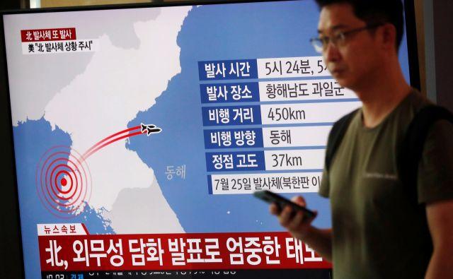 Izstrelitev dveh projektilov avgusta letos. FOTO: Kim Hong-ji/Reuters