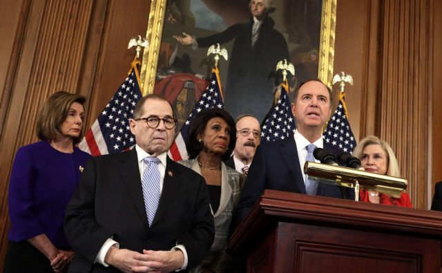 Kongresni demokrati obtožujejo republikanskega predsednika.FOTO: Alex Wong/AFP
