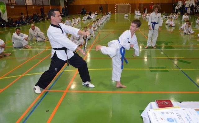 Prizor opravljanja preizkusa moči med enim od treningov taekwondoja. FOTO: Tomaž Zakrajšek