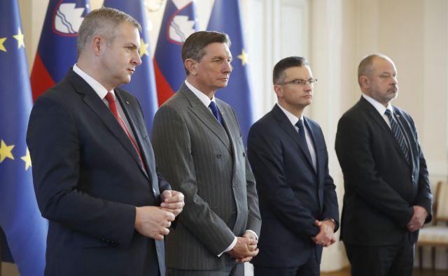 Predsednik republike Borut Pahor je gostil predsednika vlade Marjana Šarca, predsednika državnega zbora Dejana Židana in predsednika državnega sveta Alojza Kovšco. FOTO: Leon Vidic/Delo