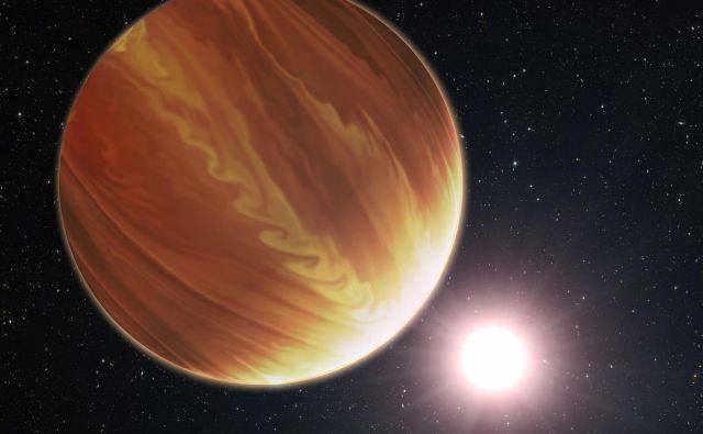 Umetniška upodobitev planeta Wasp-38 b in njegove zvezde. Planet spada med vroče Jupitre.FOTO: Nasa, Esa, G. Bacon (STScl), Andrej Guštin