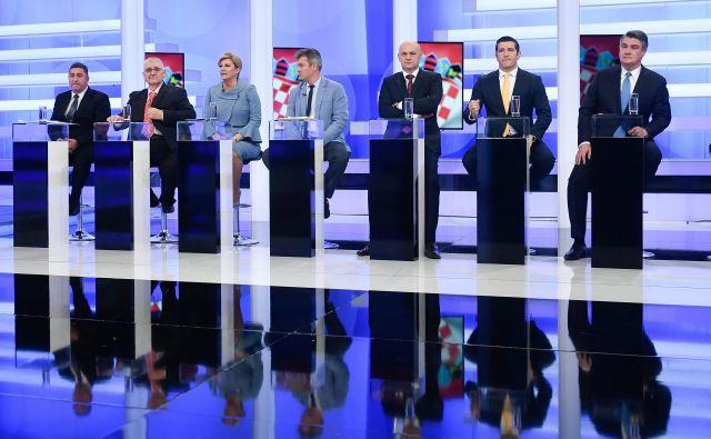 Torkovo televizijsko soočenje hrvaških predsedniških kandidatov je bilo po mnenju analitikov dolgočasno, največja novica je bila, da »se predsednica ni osramotila«. FOTO: Cropix