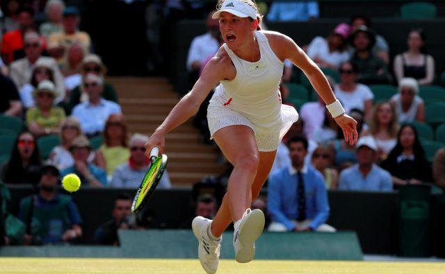 Kaja Juvan si je v tej sezoni najbolj zapomnila dvoboj 2. kola Wimbledona, v katerem se je pomerila s Sereno Williams, saj je bil to zanjo največji psihološki izziv doslej. FOTO: Reuters