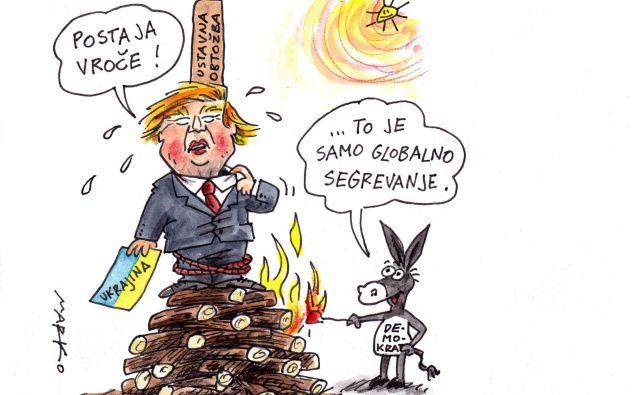 Donaldu Trumpu gori pod nogami. Karikatura: Marko Kočevar