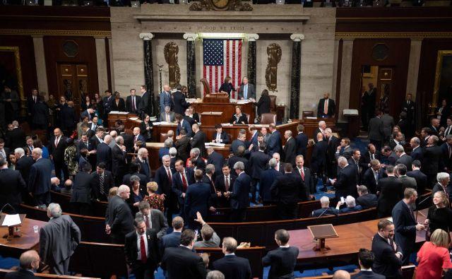 Glasovanje o obtožnici proti predsedniku Donaldu Trumpu v ameriškem predstavniškem domu FOTO: AFP