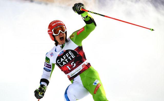 Žan Kranjec se je pred dvema letoma v Alta Badii takole veselil premiernih stopničk v karieri. FOTO: AFP