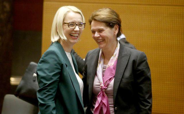 Podpore Angeliki Mlinar vsi koalicijski partnerji niso zagotovili niti na včerajšnjem sestanku pred sejo vlade, a je predsednica SAB kljub temu izrazila pričakovanje, da bo kandidatka dobila dovolj glasov. FOTO: Roman Šipić/Delo