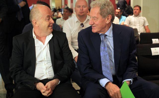 Pred štirimi leti in pol, 15. junija 2015, je svojo Olimpijino poglavje končal Izet Rastoder (levo), začel pa Milan Mandarić, ki bo, če bodo Nemci izpolnili dogovor, januarja prepustil vajeti kluba. FOTO: Blaž Samec/Delo