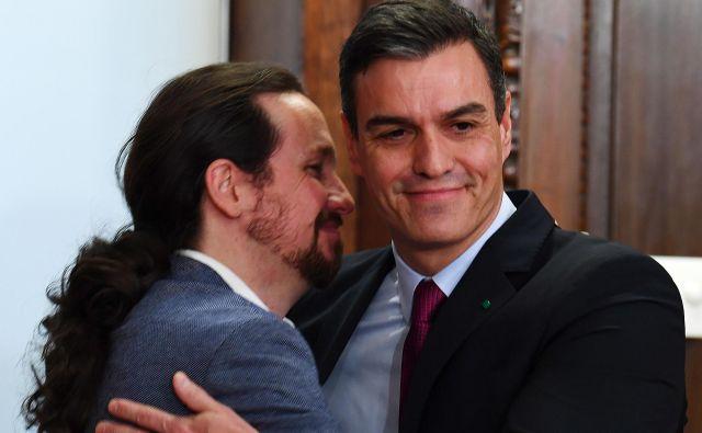 Vodja Unidas Podemos Pablo Iglesias (levo) in vršilec dolžnosti predsednika španske vladePedro Sánchez.Foto: Gabriel Bouys/Afp