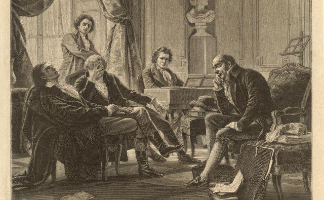 »Intimna družba pri Beethovnu«: Anton Schindler, Georg Joseph Vogler in Gottfried van Swieten, bakrorez po sliki Alberta Gräfleja, okoli leta 1892 Foto Avstrijska narodna knjižnica