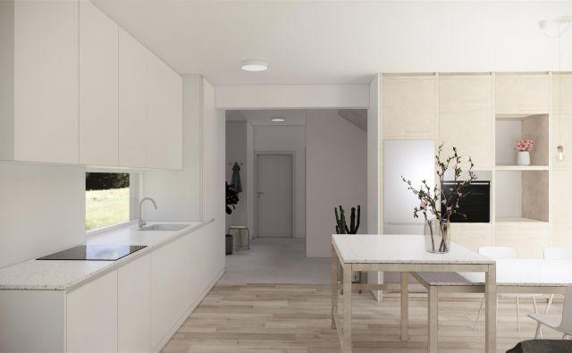 Oprema v beli barvi ima ploskovito minimalistično zasnovo, medtem ko je oprema iz svetlega lesa bolj razdelana in pokaže svojo konstrukcijo. Foto arhitekti ekipe Celovito
