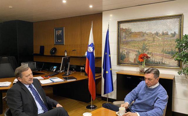 Karl Erjavec in Borut Pahor sta sestanke začela v zgodnjih jutranjih urah. FOTO: Twitter/Borut Pahor