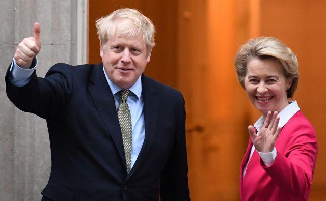 Britanski premier Boris Johnson in njegova gostja, predsednica evropske komisije Ursula von der Leyen, med srečanjem v Londonu odprtim vprašanjem in dilemam zagotovo nista prišla do dna. Foto Afp