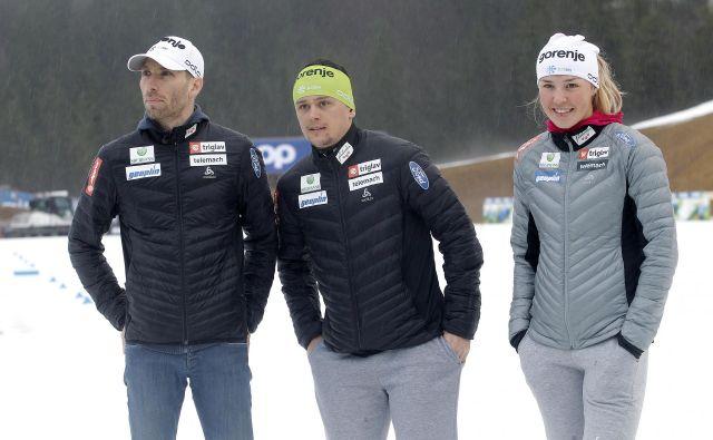 Nejc Brodar, Miha Šimenc in Anamarija Lampič so bili zelo zadovoljni z doseženim na novoletni turneji, zdaj pa je pred njimi že izziv tekme v Dresdnu. FOTO: Mavric Pivk/Delo