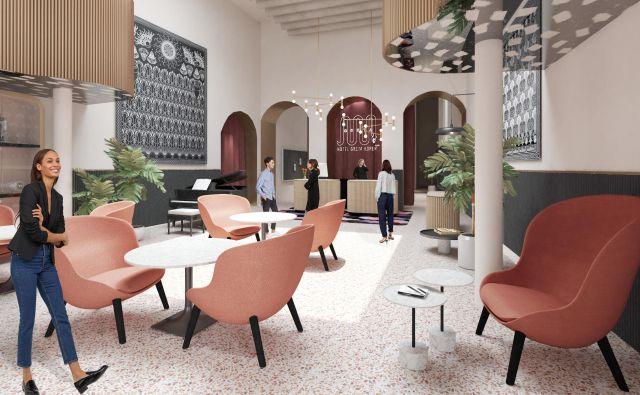 Hotel bo zaživel v zemeljskih barvah s črnimi dodatki.   Računalniški prikaz AKSL