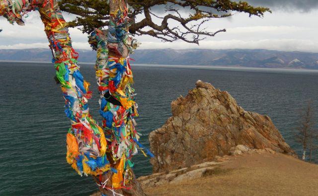 Šamansko drevo in za njim skala Šamanka