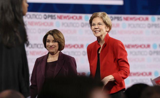 Amy Klobuchar in Elizabeth Warren. FOTO: Justin Sullivan/AFP