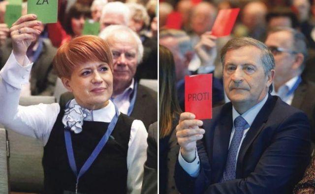 Aleksandra Pivec je postala predsednica Desusa 15 mesecev za tem, ko je postala ministrica za kmetijstvo. Karl Erjavec se poslavlja po 15 letih. FOTO: Leon Vidic/Delo