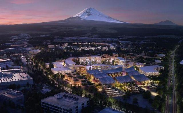 Mesto, v katerem naj bi živelo okoli 2000 ljudi, bodo začeli graditi prihodnje leto, ob vznožju gore Fuji. Foto Toyota/Bjarke Ingels Group