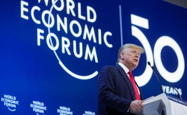 Za Donalda Trumpa je bil to že drugi nastop na Svetovnem gospodarskem forumu v vlogi ameriškega predsednika. FOTO: Reuters