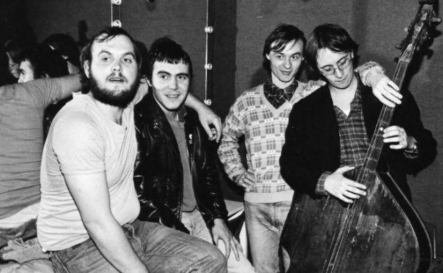 Andrej Pintarič (skrajno levo), Zoran Predin, Oto Rimele in Aleš Rupar leta 1982. Tega leta so igrali kot kvartet. FOTO: Osebni arhiv