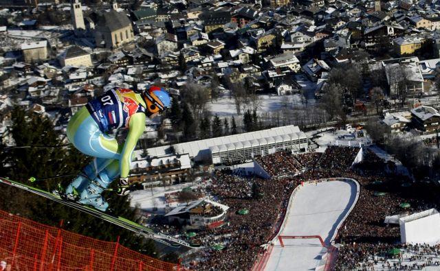 Edini slovenski smučar s stopničkami na smuku v Kitzbühlu je Andrej Šporn, drugo mesto je osvojil pred desetletjem. Letos je na Streifu kot pomočnik trenerja. FOTO: Reuters