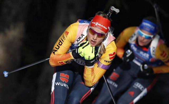 Zmagovalki Denise Herrmann je kot nekdanji tekačici pokljuška proga, ki je zdaj zahtevnejša kot v preteklosti, zelo všeč. FOTO: Matej Družnik