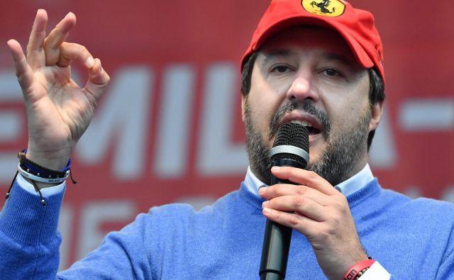 Voditelj Lige med nastopom v mestu Maranello nekaj dni pred volitvami. Foto AFP