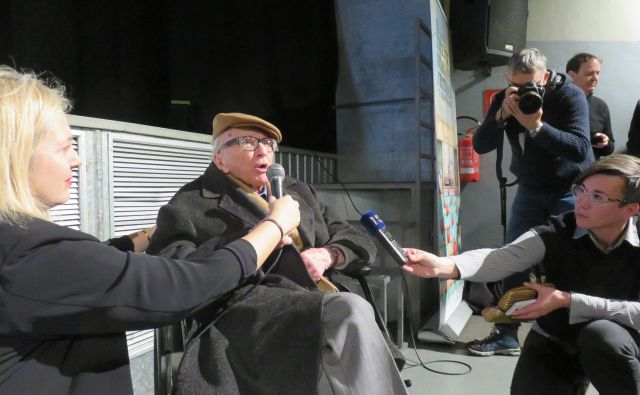Po projekciji BBC-jevega dokumentarnega filma <em>Človek, ki je videl preveč</em> je občinstvo nagovoril tudi glavni protagonist Boris Pahor. Foto: Nataša Čepar