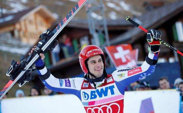 Zmagovalec enega od najzahtevnejših veleslalomov v Adelbodnu Žan Kranjec je med največjimi favoriti za zmago tudi v Garmisch-Partenkirchnu. FOTO: Reuters