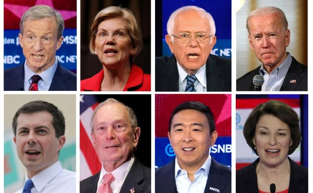 Osem demokratskih kandidatov za predsedniško nominacijo: Tom Steyer, Elizabeth Warren, Bernie Sanders, Joe Biden, Pete Buttigieg, Michael Bloomberg, Andrew Yang in Amy Klobuchar.  Photo: Reuters