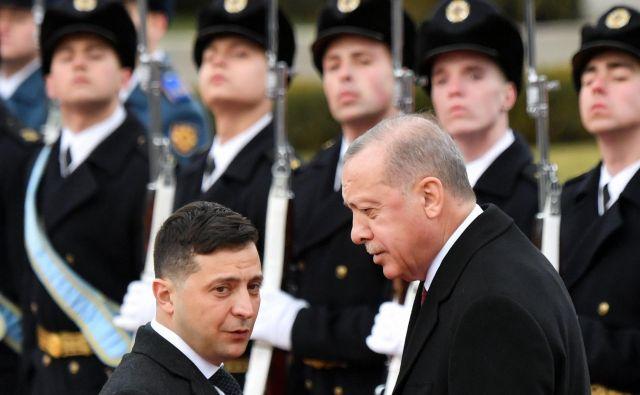 Ukrajinski predsednik Volodimir Zelenski je gostil turškega kolega Recep Tayip Erdoğana.FOTO: Afp