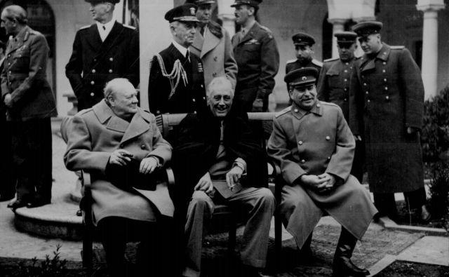 Velika trojica zmagovalcev proti nacizmu: Winston Churchill, Franklin Roosevelt in Josip Stalin. FOTO: Reuters